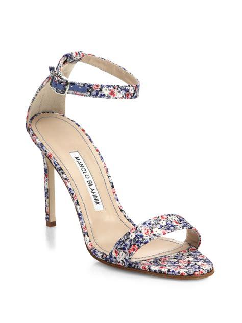 Sandal Wedges Blue Flower lyst manolo blahnik chaos floral print 105mm sandal