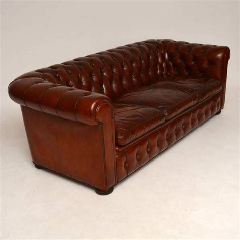 antique chesterfield sofa for sale antique leather three seat chesterfield sofa for sale at