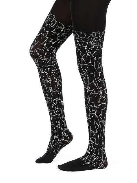 Cat Printed Tights clowder of cats black virivee tights