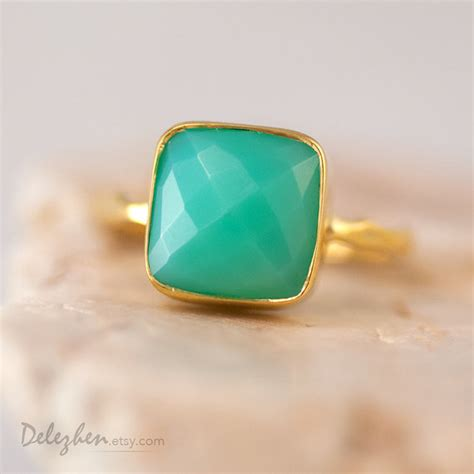 Green Chrysoprase Ring 15 sea foam green chrysoprase ring gold gemstone ring stacking