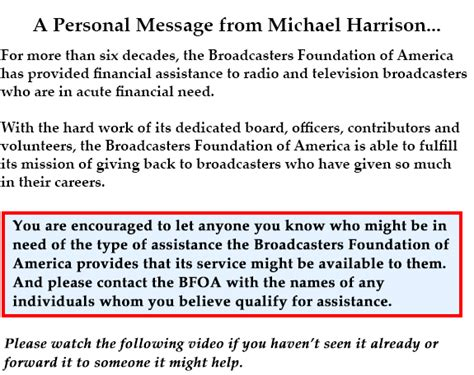 A Message From by A Personal Message From Michael Harrison