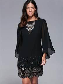 black 3xl bell sleeve scalloped long sleeve shift dress