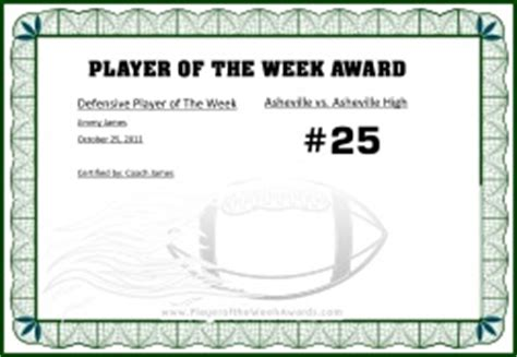 of the week certificate template free printable player of the week award award templates