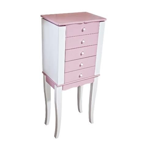 girls armoire louisa girls painted jewelry armoire in pink and white