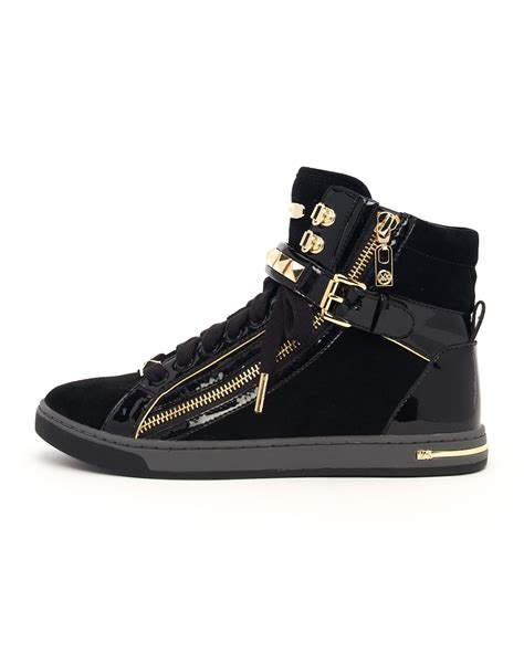 black michael kors sneakers michael kors studded hightop in metallic lyst