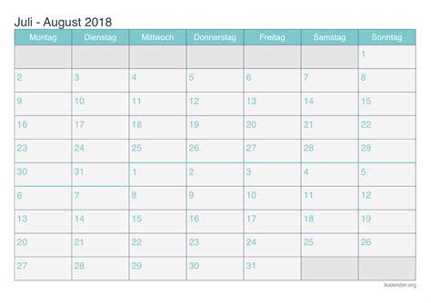 Kalender 2018 August Und September Kalender Juli August 2018 Zum Ausdrucken Ikalender Org