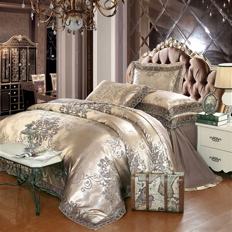 Silver And Gold Bedding Sets Gold Silver Coffee Jacquard Luxury Bedding Set King Size Stain Bed Set 4pcs Cotton Silk