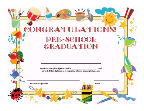 preschool graduation certificate template free school