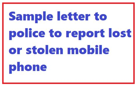 Letter Report Lost Documents sle letter to to report lost or stolen mobile