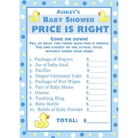 free printable price is right baby shower template 24 personalized baby shower price is right cards blue