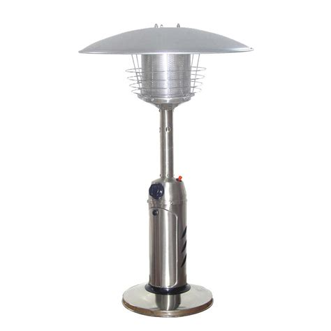 Stainless Steel Gas Patio Heater Az Patio Heaters 11 000 Btu Portable Stainless Steel Gas Patio Heater Hlds032 B The Home Depot