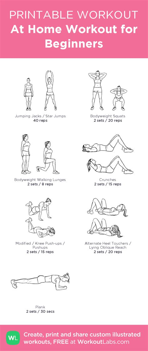 beginner workout plan for women at home at home workout for beginners illustrated exercise plan