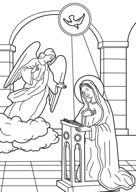 coloring page angel appears to mary image coloring annunciation of the angel to virgin mary