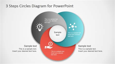 4 step segmented circular diagrams for powerpoint slidemodel overlapping circles 3 steps diagram for powerpoint