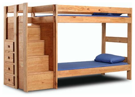 Hardwood Bunk Beds With Stairs Solid Wood Bunk Bed With Stairs 394 Pc Craftsman Bunk Beds New York By