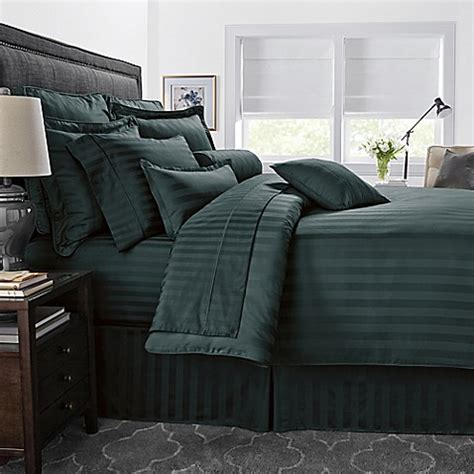 hunter green comforter buy 500 thread count damask stripe reversible comforter