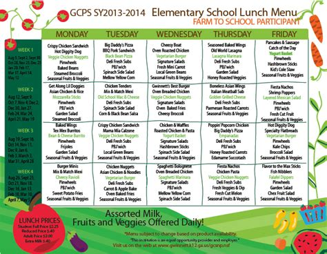 school lunch menu calendar template
