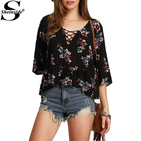 Trend Alert Floral Shirtdresses by Sheinside Half Sleeve Lace Up Floral Print Tops Summer