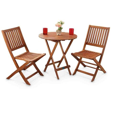 New 3 Piece Outdoor Wooden Bar Two Stools Bar Table Patio
