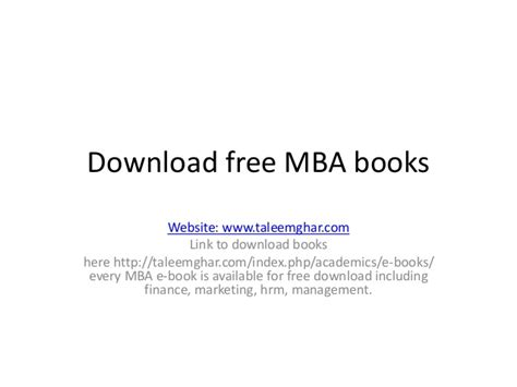 Mba Textbooks Free by Free Mba Books