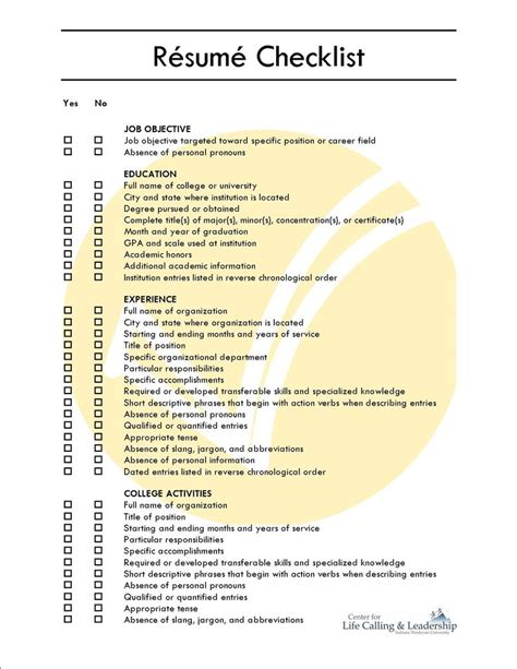 Resume Check by Comprehensive Resume Checklist Sle Comprehensive