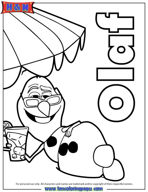 olaf at the beach coloring page h m coloring pages