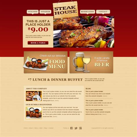 fine food and buffet website template psd web elements