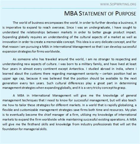 Advantages Of Mba In Canada by Statement Of Purpose For Mba