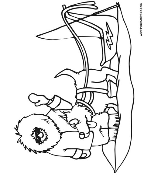 coloring pages of dog sledding dog sled coloring page of an eskimo with a dog and sled