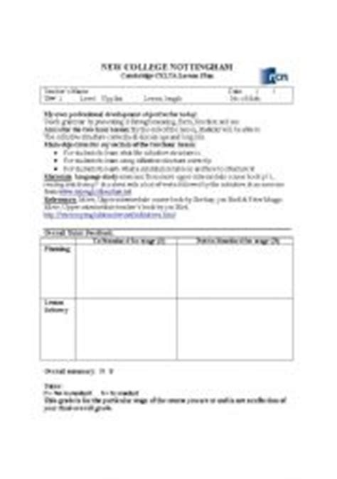 lesson plan template celta english teaching worksheets celta course