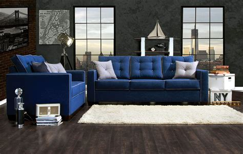 Blue Sofa Set 2 Pcs Blue Sofa Set