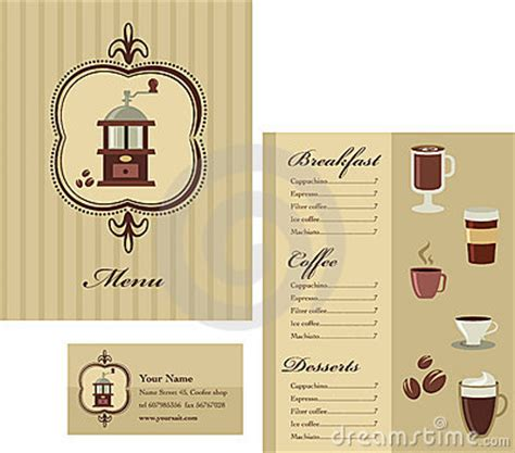 menu and business card template design coffee royalty