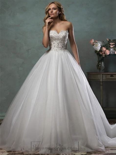 beaded bodice wedding dress strapless scallop sweetheart beaded bodice gown