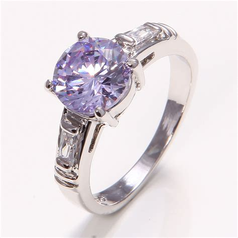 sparkling 10k white gold filled womens jewelry amethyst