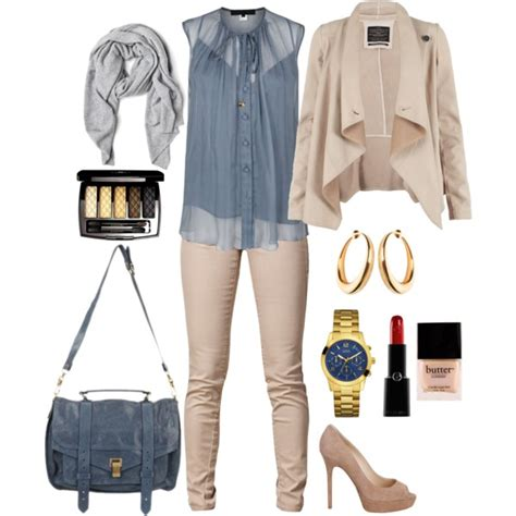 blue and beige outfit   Polyvore