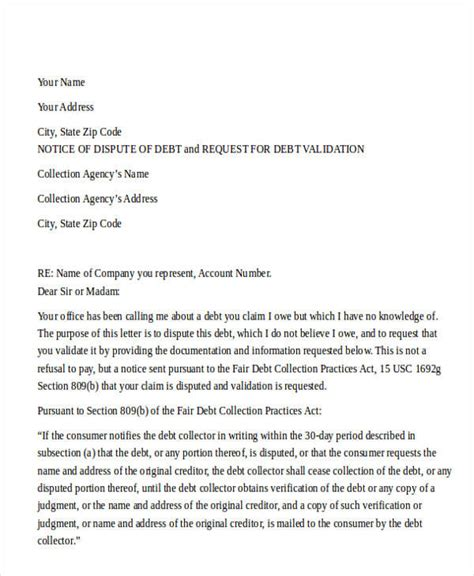 Dispute Letter To A Collection Agency Sle collection dispute letter collection dispute letter debt collection dispute letter sle letter