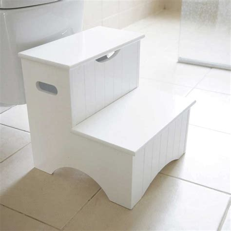 White 2 Step Stool by White Step Stool With Storage Jojo Maman Bebe