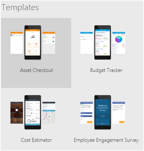 app design vorlage create and run an app from a template