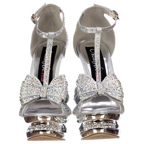 silver high heels with bows onlineshoe diamante jewelled bow high heel