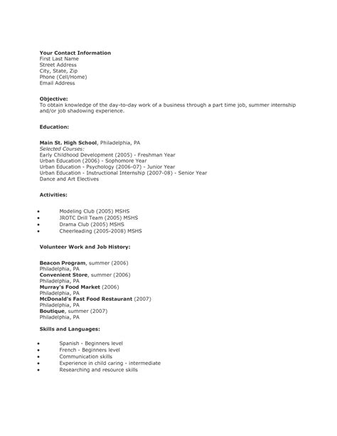 exceptional high school resume format high school student resume format sradd me