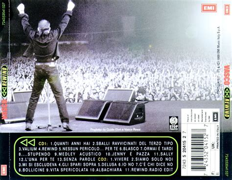 vasco rewind copertina cd vasco rewind back cover cd vasco
