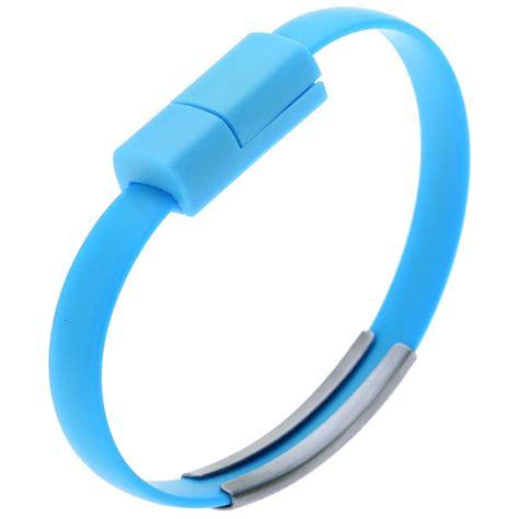 kabel micro usb bentuk gelang silikon blue