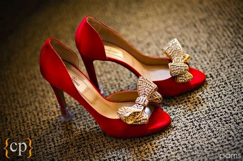 wedding shoes with gold bows onewed