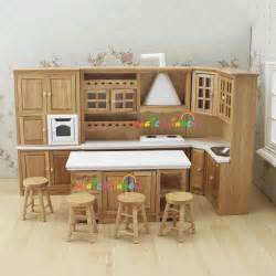 Kitchen Dollhouse Furniture Doll House Kitchen Furniture Wooden Toys Cabinet Range