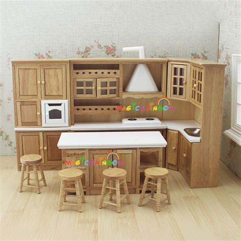 miniature dollhouse kitchen furniture doll house kitchen furniture wooden toys cabinet range sink chiars set 1 12 scale dollhouse