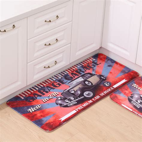 garage rug soft fleece fabric carpet hallway living room bathroom floor mats retro garage car