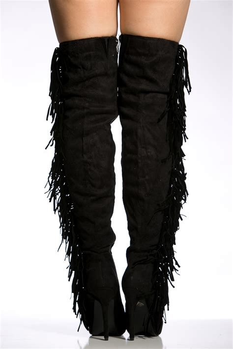 black faux suede fringe detail thigh high boots cicihot