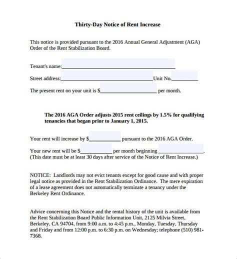 Rent Increase Notice Template by 11 Rent Increase Notice Templates To For Free