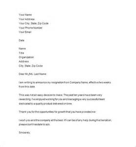 Sle Two Week Resignation Letter by Resignation Notice Template 16 Free Sles Exles Format Free Premium Templates