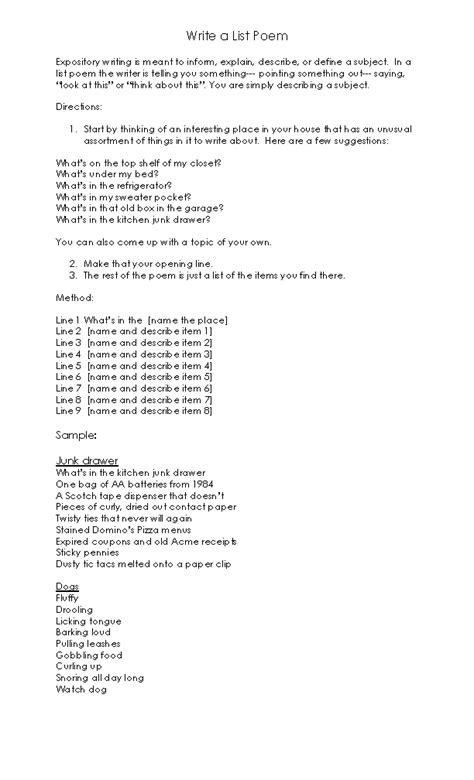 list poem template poetry worksheets list poem template worksheet